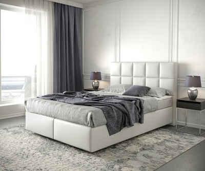 DELIFE Boxspringbett »Dream-Fine«, Kunstleder Weiß 140x200 mit Matratze und Topper