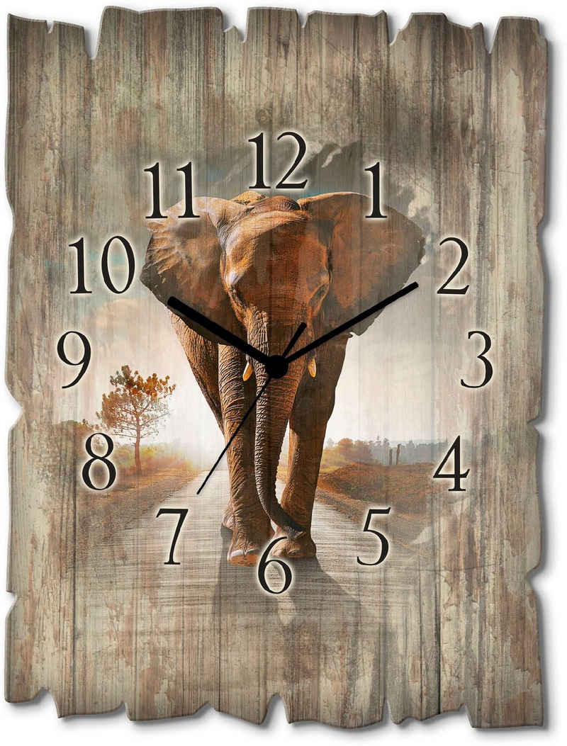 Artland Wanduhr »Ein Elefant läuft auf der Straße« (lautlos, ohne Tickgeräusche, nicht tickend, geräuschlos - wählbar: Funkuhr o. Quarzuhr, moderne Uhr für Wohnzimmer, Küche etc. - Stil: modern)