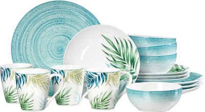 Ritzenhoff & Breker Kombiservice »Aruba« (16-tlg), Porzellan, Palmblätter-Dekor im Mix mit meerblauen Teilen