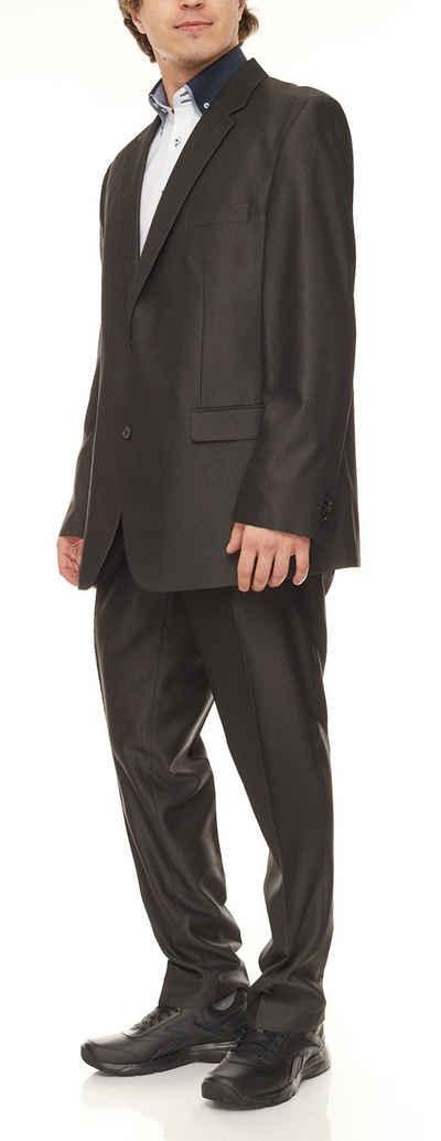 Class International Anzug »CLASS INTERNATIONAL Business-Anzug leicht glänzender Herren Anzug mit fallendem Revers untersetzte Größen Hochzeits-Anzug Anthrazit«