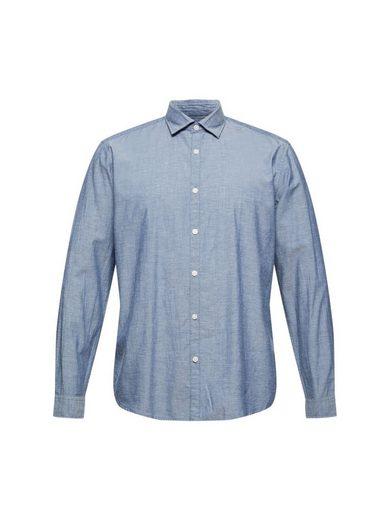 Esprit Langarmhemd »Meliertes Hemd aus 100% Organic Cotton«