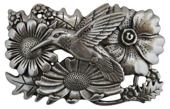 FRONHOFER Gürtelschnalle »18071« Kolibri Gürtelschnalle altsilber, 4 cm, Blumenmuster Schnalle Damen