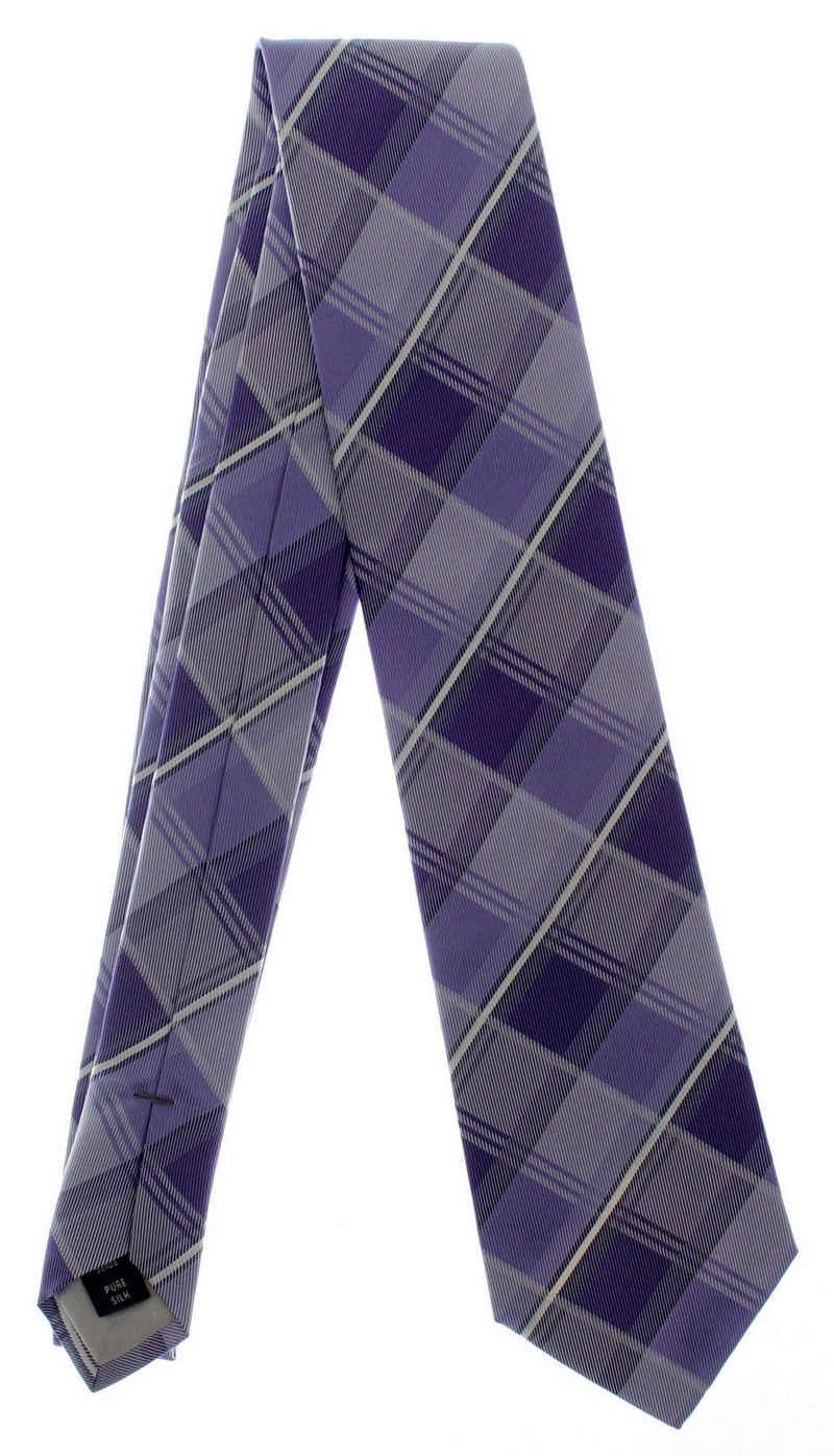 MONTI Krawatte »Krawatte Seide 146cm/8cm kariert blau Schlips«