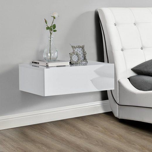 en.casa Wandregal, »Elverum« mit Schublade Nachttisch weiß hochglanz
