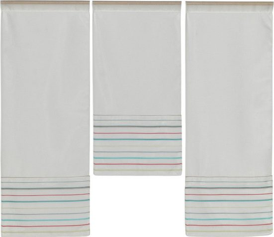 Scheibengardine »3er Set Miniflächen Vorhänge Scheibengardine Küchengardine 4019 01 Weiß Bunt Pink Blau«, EXPERIENCE, Stangendurchzug (3 Stück), 3er Set Flächenvorhänge