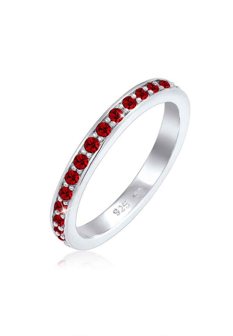 Elli Fingerring »Memoire Verlobung Kristalle 925 Silber«, Bandring