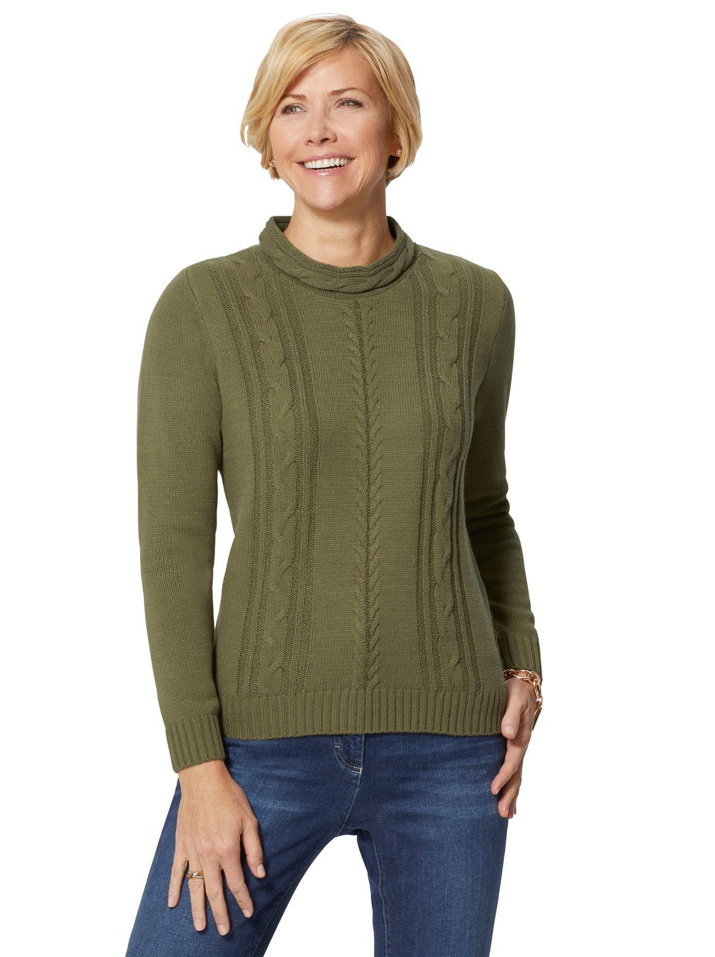 Schöner Basic-Pullover mit Stehkragen und Stickerei