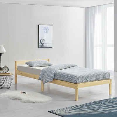 en.casa Holzbett, »Nakkila« Einzelbett Jugendbett mit Lattenrost in verschiedenen Farben und Größen