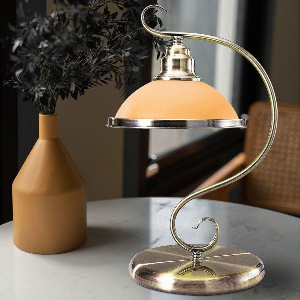 etc shop Tischleuchte, Schreib Nacht Tisch Lampe Wohn Ess Schlaf Zimmer  Landhaus Stil Beleuchtung Altmessing Glas Leuchte amber online kaufen   OTTO
