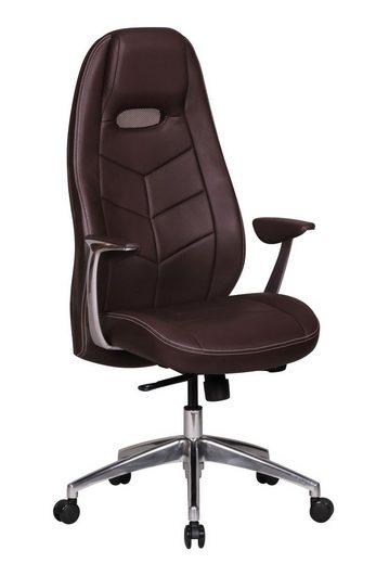 FINEBUY Chefsessel »SuVa1390_1«, Bürostuhl BALE Echt-Leder Schreibtischstuhl mit Armlehne Chefsessel Synchronmechanik Drehstuhl Kopfstütze