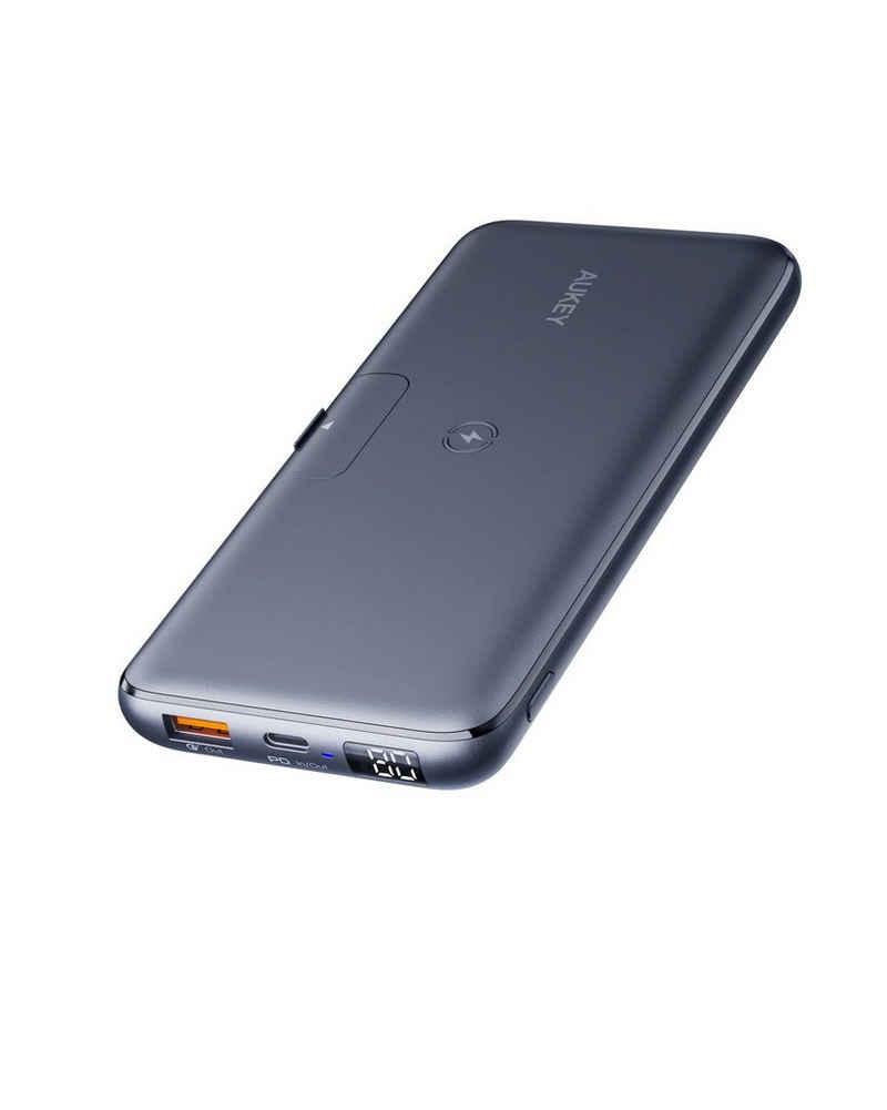 AUKEY »PB-WL03« Powerbank, 20000 mAh, 10W Wireless Charging + 18W PD Fast Charging, Tragbares Ladegerät mit 1 USB-C und 1 Micro-USB, kompatibel mit Smartphone Tablets
