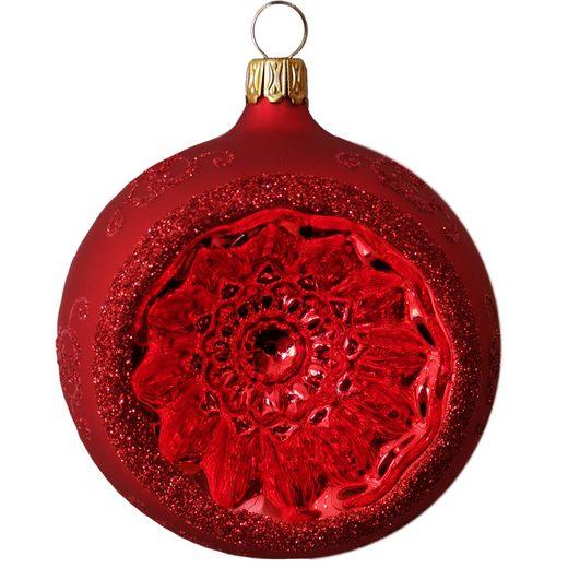 Thüringer Glasdesign Weihnachtsbaumkugel »Reflexkugel, Renaissanceband, rot seidenmatt« (1 Stück), mundgeblasen, handbemalt