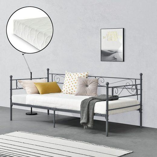 en.casa Metallbett, »Kerava« Einzelbett Bettsofa Tagesbett 90x200cm Kojenbett Jugendbett mit Kaltschaummatratze und Lattenrost dunkelgrau