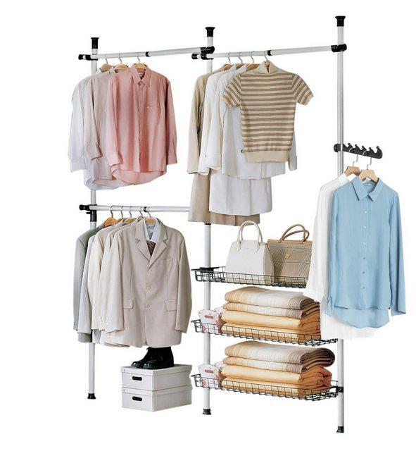 Kleiderständer und Garderobenständer - SoBuy Kleiderständer »FRG34«, Garderobenständer mit 3 Kleiderstangen und 3 Körben  - Onlineshop OTTO