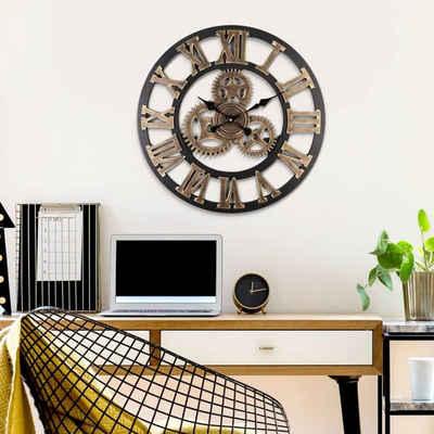 K&L Wall Art Wanduhr »Vintage Metall Wanduhr 40cm große Uhr Schwarz Gold Küche Flur« (nicht lautlos, aber ohne Ticken, Quartz Uhrwerk)
