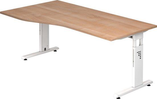 bümö Schreibtisch »OM-OS18-W«, höhenverstellbar - Freiform: 180x100 cm - Gestell: Weiß, Dekor: Nussbaum