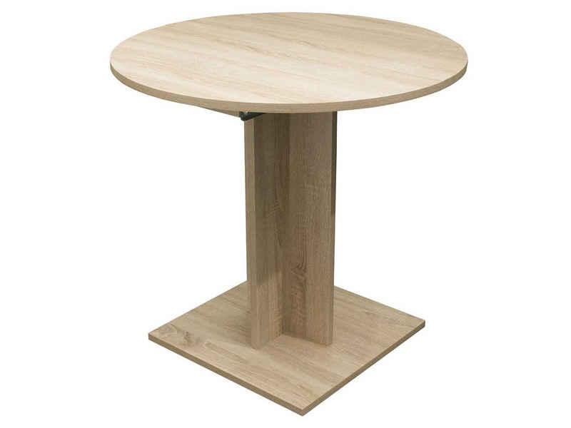 möbelando Esstisch »Judd I«, runder Tisch mit Ausziehfunktion Durchmesser 80/120 cm in Farbausführung Eiche sägerau Nachbildung Made in Germany
