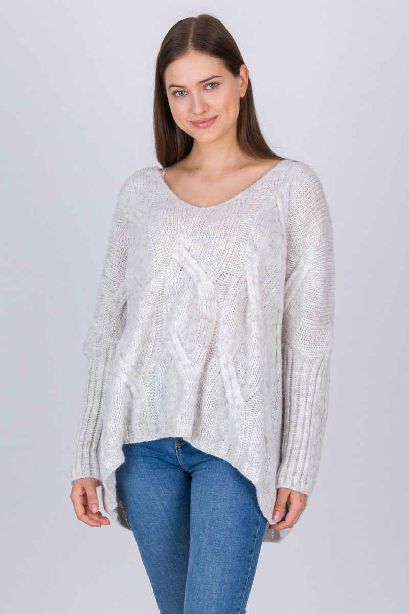 PEKIVESSA Strickpullover »Oversize Pullover Damen XXL Pulli« (1-tlg) tiefer V-Ausschnitt