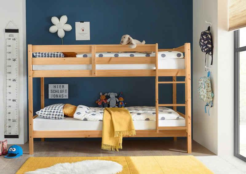 Kids Collective Hochbett »90x200 cm umbaubar zu zwei Kinderbetten, mit Rausfallschutz« TÜV-zertifiziertes Jugendbett in weiß oder natur, optional mit Matratze