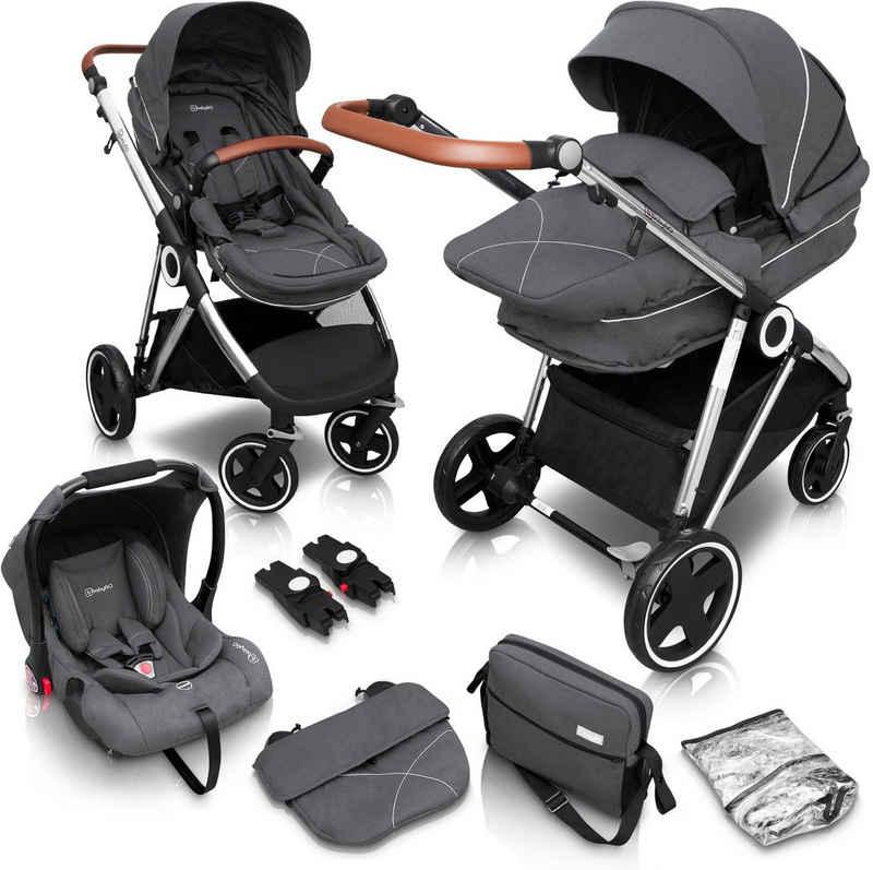 BabyGo Kombi-Kinderwagen »Halime 3in1, Grey Silver«, mit flexiblen Schwenkrädern, inkl. Babywanne, Babyschale, Regenhaube und Wickeltasche; Kinderwagen