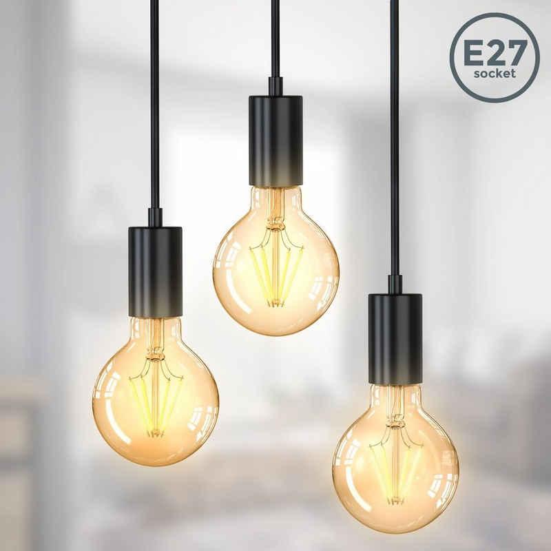 B.K.Licht LED Pendelleuchte »BKL1380«, Vintage Hängelampe 3-Flammig E27 Matt-Schwarz Retro Pendellampe verschiedene Höhen Ø210x1200mm