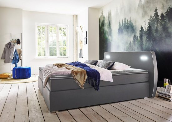 ATLANTIC home collection Boxspringbett, inklusive LED-Beleuchtung und Topper