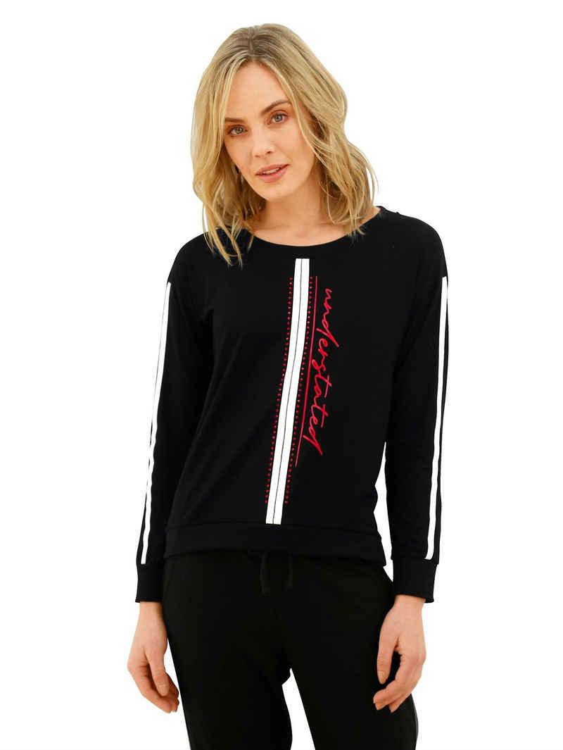 Amy Vermont Sweatshirt mit Schriftzug im Vorderteil