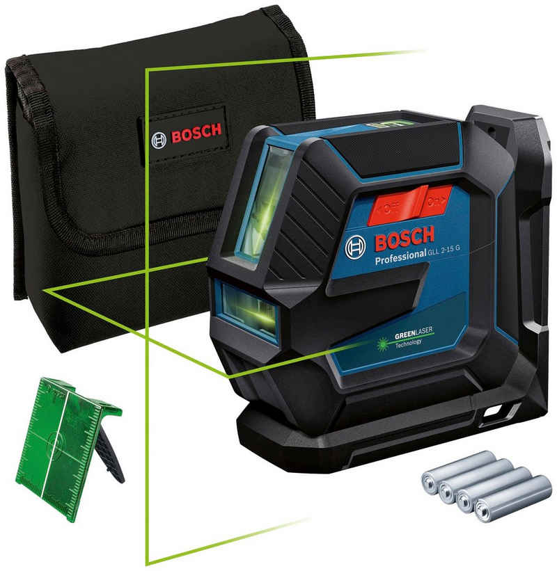 Bosch Professional Powertools Linienlaser »GLL 2-15 G Professional«, Staub- und Spritzwasserschutz IP64
