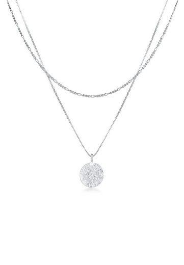 Kuzzoi Silberkette »Herren Layer Figaro Venezianer Plättchen 925 Silber«