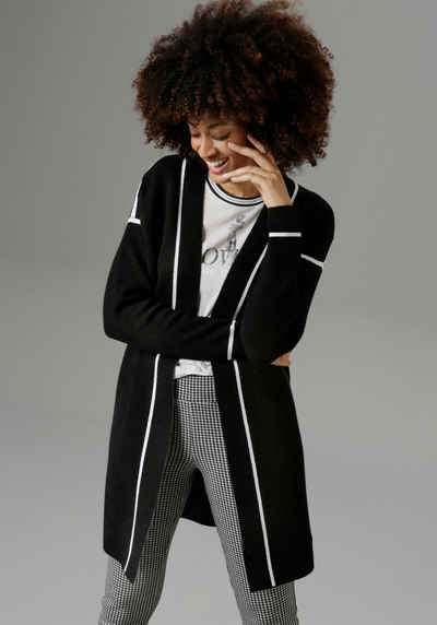 Aniston SELECTED Longstrickjacke mit kontrastfarbenen Streifen - NEUE KOLLEKTION