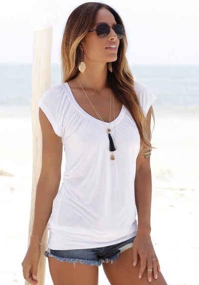LASCANA V-Shirt mit breitem Gummizugbund