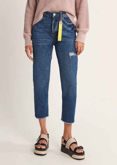 comma casual identity 7/8-Jeans »Mom-Jeans im Used Look« Waschung, Destroyes