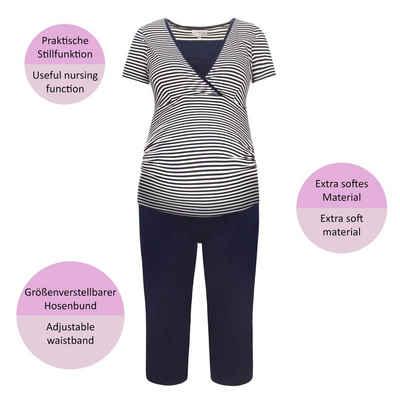Herzmutter Umstandspyjama »Stillpyjama - Schlafanzug für Schwangerschaft-Wochenbett-Stillzeit«