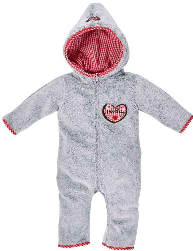 """BONDI Strampler »Kuscheliger Baby Fleece-Overall """"Herzilein"""" 86566 - Grau Rot, Wintermode Mädchen«"""