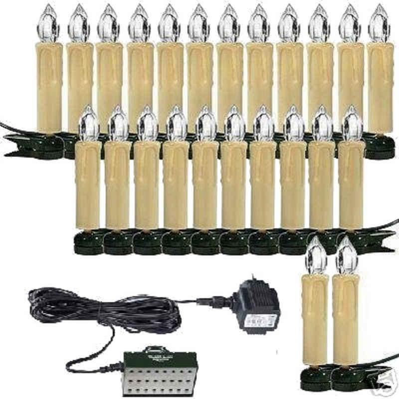 TRANGO LED-Lichterkette, 340047KW LED Weihnachtskerzen mit 24x IP44 Tageslichtweiß (kaltweiss) LED Kerzen für Außenbereich Weihnachtslichter – Christbaumbeleuchtung - Weihnachtsbaum Beleuchtung - Weihnachtsbeleuchtung