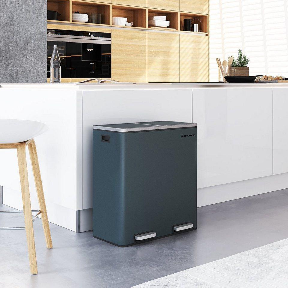 SONGMICS Mülleimer »LTB2000«, Mülleimer für die Küche, 200 x 200 L, Abfalleimer  mit 200 Fächern, Mülltrennung, Treteimer aus Metall, Inneneimer aus