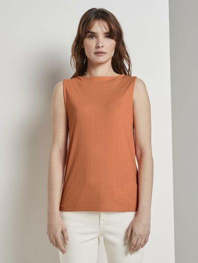 TOM TAILOR T-Shirt »Nena & Larissa: Geschlossenes Top in Ripp-Optik«