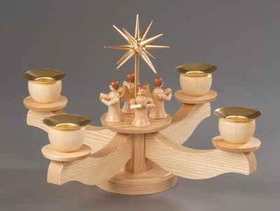 Albin Preissler Adventsleuchter, Kerzenleuchter natur mit Engelsfiguren, Original Erzgebirge Holzkunst, inklusive Tannenkranz und Kerzen