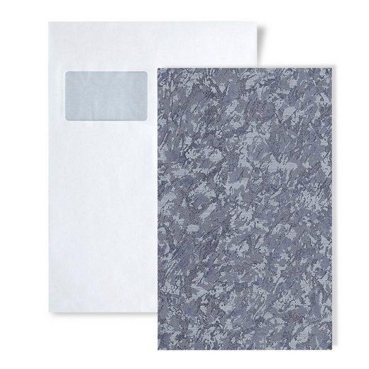 Edem Prägetapete »S-9076-27«, Metall-Effekte, unifarben, Spachtel-Optik, (1 Musterblatt, ca. A5-A4), grau, tauben-blau, blau-grau