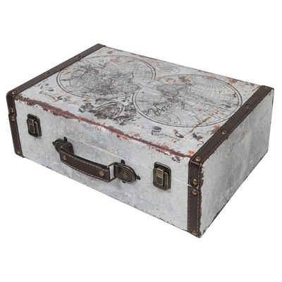 HMF Aufbewahrungsbox »Vintage Koffer«, aus Holz, Deko Weltkarte, 38 x 26 x 13 cm