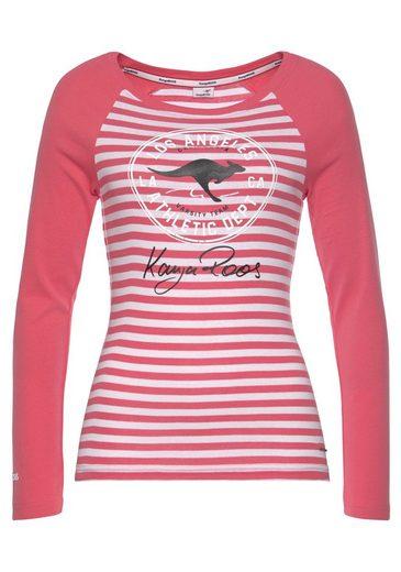 KangaROOS Langarmshirt mit großem Retro Label-Druck und Raglanärmeln - NEUE KOLLEKTION