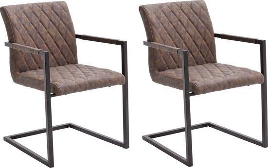 MCA furniture Freischwinger »Kian« (Set, 2 Stück), Vintage Kunstleder mit oder ohne Armlehne, Stuhl belastbar bis 120 kg