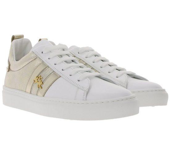 La Martina »LA MARTINA Echtleder-Sneaker tief geschnittene Damen Glitzer-Schuhe Trend-Schuhe Weiß« Sneaker