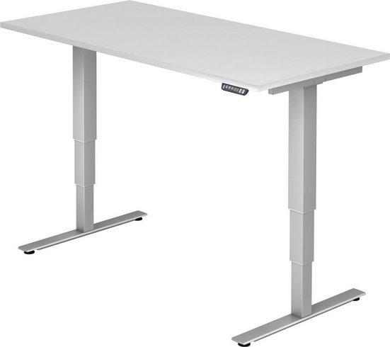 bümö Schreibtisch »OM-XDSM16«, elektrisch höhenverstellbar mit Memoryfunktion - Rechteck: 160x80 cm - Dekor: Weiß