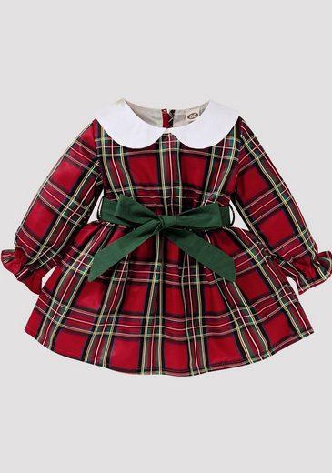 TOPMELON Jerseykleid »Baby Mädchen kariertes Langarm Kleid« (1-tlg) Plaid, Lange Ärmel, Taillenbindung