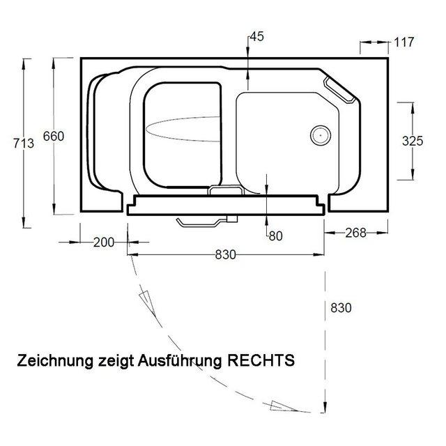 Badewannen und Whirlpools - HAK Badewanne »SERENITY Sitzbadewanne mit Tür«, 130x66 cm, rechts  - Onlineshop OTTO