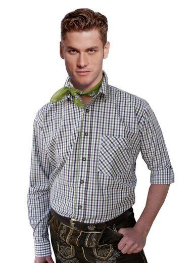 Moschen-Bayern Trachtenhemd »Trachtenhemd Herren kariert Wiesn-Hemd zur Lederhose Karo Herrenhemd Langarm Kurzarm Grün«