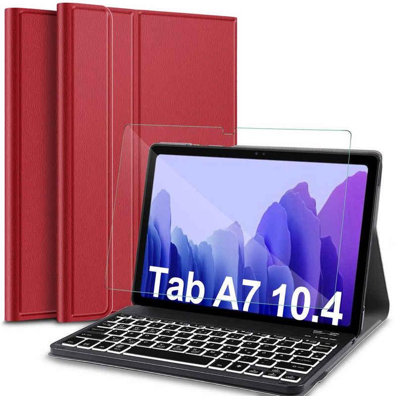 IVSO »Tastatur Kompatibel mit Samsung Galaxy Tab A7 10.4 2020, mit Panzerglas, [QWERTZ Deutsches],« Tablet-Tastatur (Abnehmbar Beleuchtete Tastatur Hülle Kompatibel mit Samsung Galaxy Tab A7 T505/T500/T507, Schwarz)