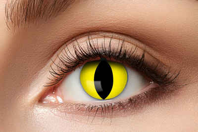 Eyecatcher Farblinsen »Kontaktlinsen. gelbe Katze. 12 Monatslinse. Halloween. Karneval«