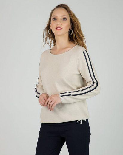Passioni Rundhalspullover »lässiger Pullover mit Glitzerdetails« Streifen entlang der Ärmel